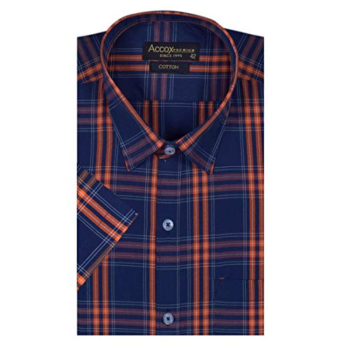 ACCOX Men's Half Sleeves Formal Regular Fit Cotton Check Shirt(Multi,GO549)