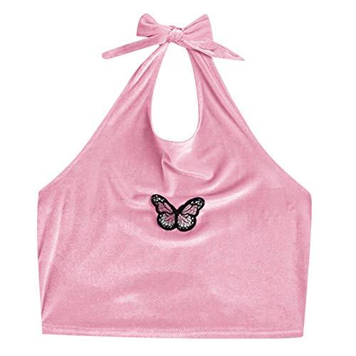 Seksowna bielizna babydollseksowna bluzka damska aksamit motyl nadruk wiązana na górze bluzka bluzka na ramiączkach dla