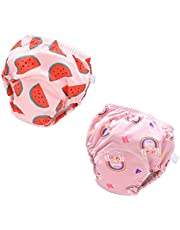 BabyWorld 2PCS Baby Underwear Potty Training Pants, Reusable Toddlers Kids Potty Training Underpants 6 Layers Training Pants with Cute Design Unisex for 0-3 Years Baby