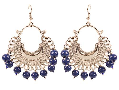 """Touchstone\""""Tribal Bohemian Chic\"""" Zigeuner indische Schmuck-Afghani Chand Baali Mond Thema blaue Perlen Designer-Kronleuchter Ohrringe für Damen Blau"""