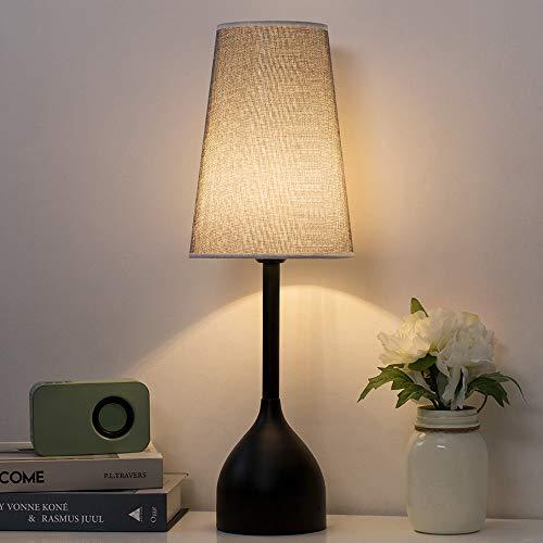 Lámpara de mesa decorativa alta negra - Lámpara de mesa moderna y elegante, lámpara de mesa de noche vintage con base de metal y pantalla de tela para sala de estar-gris