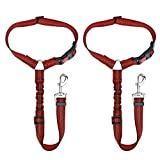 Nasjac Dog Seatbelts for Cars, 2 Pack Pet Car Seat belt Headrest Restraint Puppy Doggie Safety Adjustable Belt Connect with Dog Car Harness with Elastic Bungee and Reflective Stripe For Outdoor Travel