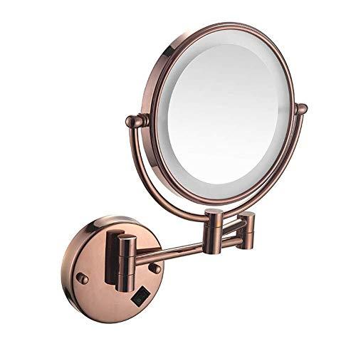 Miroir de Maquillage LED lumineux Miroir de maquillage USB de charge sans fil de bain grossissant Miroir mural 3X Grossissement extension pliante double face