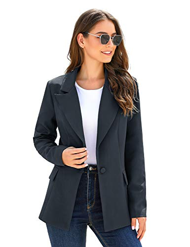 Luyeess Women's Casual Work Office Business Long Sleeve Lapel Pocket Buttons Slim Blazer Jacket Navy Blue, Size XL(US 16-18)