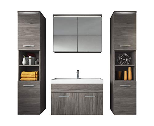 Badezimmer Badmöbel Set Paso XL LED 80 cm Waschbecken Bodega (Grau) - Unterschrank 2X Hochschrank Waschbecken Möbel
