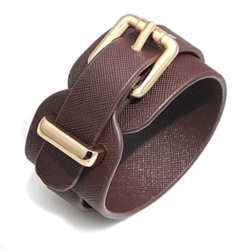 Panduo YLB Pulsera de Cuero PU de Moda para Mujer, Pulsera Ajustable, para Regalos creativos de Las Mujeres, Longitud 26.5cm / 10.43in (Color: Negro) (Color : Brown)