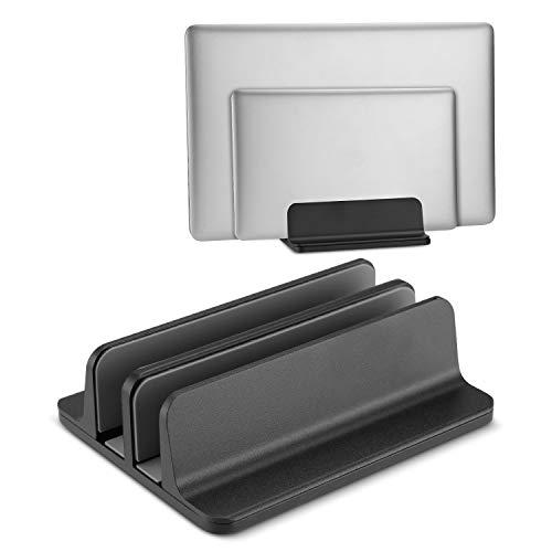 Becrowm ノートパソコンスタンド パソコンホルダー ノートPCスタンド 縦置き 2台収納 アルミ製 MacBook/iPad/laptop/タブレット適用(ブラック)