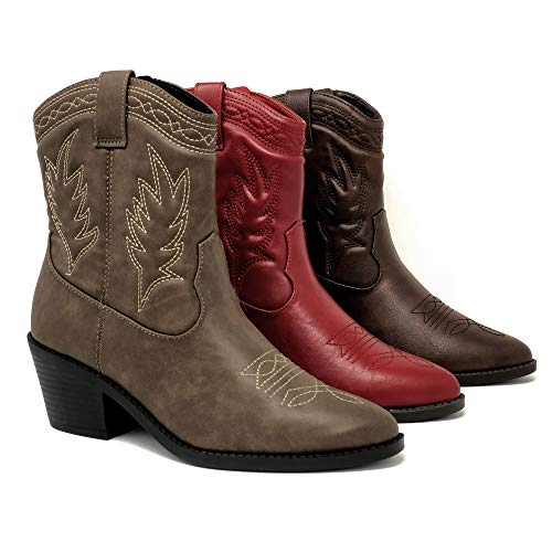 Soda Picotee Women Western Cowboy Cowgirl Stitched Ankle Boots,Taupe Pu,8