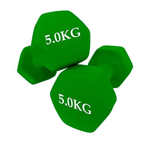unycos - Set de 2 Mancuernas - Ejercicio Fitness - Pesas Cortas - Anti-Rodadura - Antideslizante - Hexagonales | Entrenamiento en Casa - Gimnasio (5 KG)