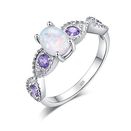 CiNily White Fire Opal Amethyst Women Jewelry Gemstone Silver Ring Size 11