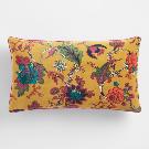 Mustard Floral Velvet Lumbar Pillow | World Market