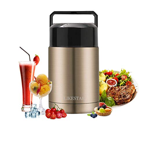 Insulated Food Jar Thermos Leak Proof Vacuum Stainless Steel Storage Lunch Container, 34oz Soup Thermos with Handle Lid, Wide Mouth Lunch Box Keep Warm and Cold for Kid Adult School Office Outdoor