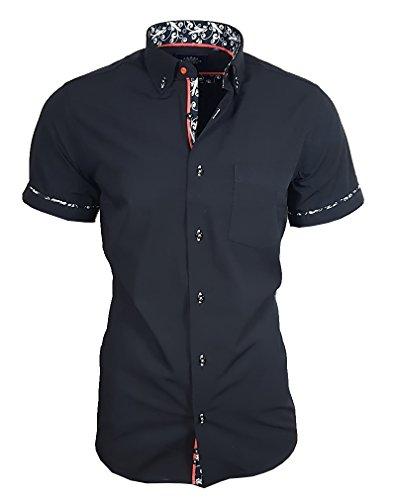 Louis Binder de Luxe Herren Hemd mit Brusttasche Kurzarm Shirt Modern Fit Button-Down-Kragen 82907 schwarz M