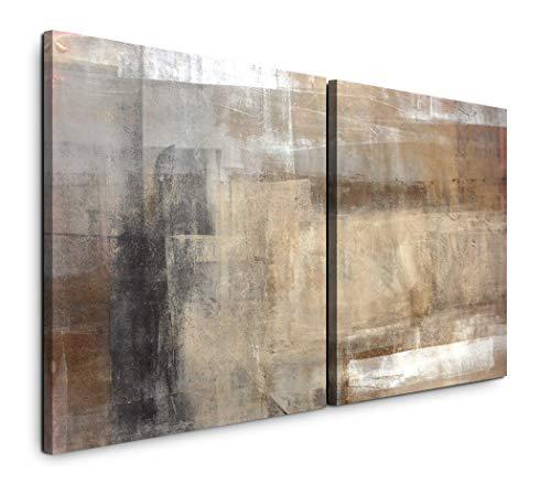 Paul Sinus Art GmbH Abstrakte Kunst 120x60cm - 2 Wandbilder je 60x60cm Kunstdruck modern Wandbilder XXL Wanddekoration Design Wand Bild