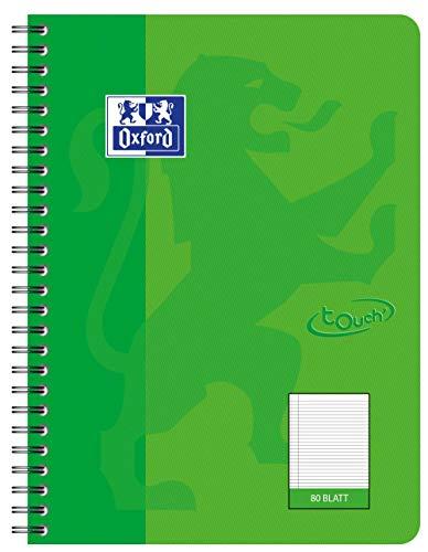 OXFORD 400086491 Collegeblock Touch im Format B5 80 Blatt liniert mit Rand grasgün Schreibblock Notizblock Briefblock Schulblock