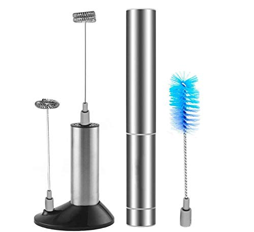 Electric Milk Frother, Handheld Foam Maker, Battery Operated Whisk, Powerful Stainless Steel Foam Maker Beater with Double and Single Spring Whisk Head, Cleaning Brush, Storage Tube and Storage Stand