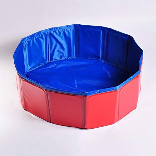 QFdd Blaue Rote Faltbare Wanne,Nach Faltbar Kleines Volumen Tragbar Runden StandardhöheSchwimmbad Für Katze Hund 3 Größen 2 Farben