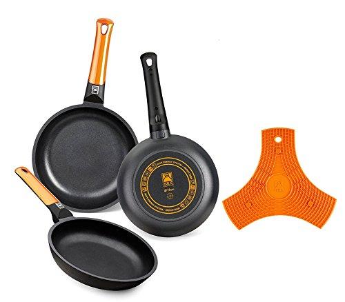 BRA Efficient Orange - Set de 3 sartenes, 20-24-28 cm, aluminio fundido...