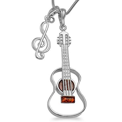 -Schmuckset-Handgefertigt XL Musiker-Schmuck Set Gitarre Bernstein Anhänger mit Notenschlüssel Kettenanhänger inkl. 1,4mm Schlangenkette 40 45 50 55cm 925 Sterlingsilber,gratis Geschenkbox #1681 (55)