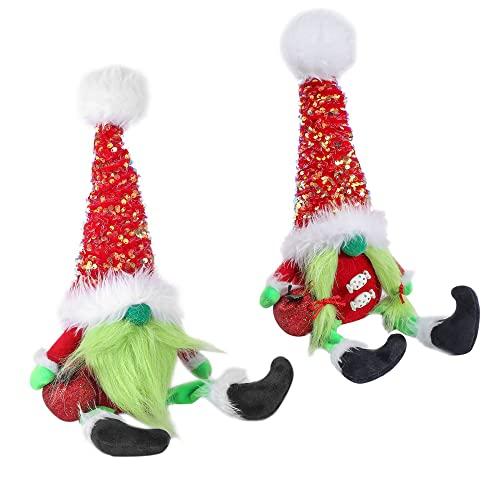 2pcs Grinch Doll Green Hair Monster Dwarf Elf Doll Doll Decoración Hecho A Mano Sueco Santa Gnome Peluche De Juguete Árbol De Navidad Topper Decoraciones Colgantes Mesa Adorno De Vacaciones Regalo