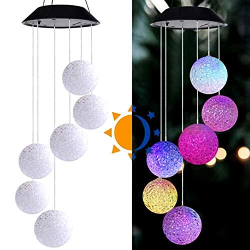 JoyFan Solar LED-deurbel, licht, ornamenten voor ramen, tuin, bal, kleurrijk 13*70 cm Bal