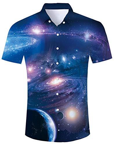 70er Jahre Hemd Herren Freizeithemden Hemd Regular Fit Männerhemd Sommer Strand Shirts für Jungen Männer XXL
