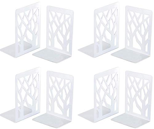 Book Ends, Bookends Heavy Duty, INNÔPLUS Book End Holder for Shelves, Metal Bookend (White 4 Pair) for Office and School, Decorative Tree Unique Design Book Stopper for Gift, Book Binder and Dividers