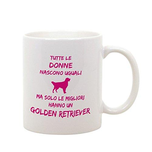 bubbleshirt Tazza Mug in Ceramica Compleanno - Tutte Le Donne Nascono Uguali ma Solo Le Migliori Hanno Un Golden Retriever - Dog - Love - Evento - Idea Regalo