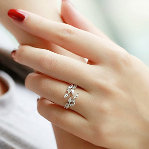 YouCY Simple Leaves Ring Fashion Zircon Opening Ring Adjustable Finger Ring for Women Girls Wedding Jewelry,Silver