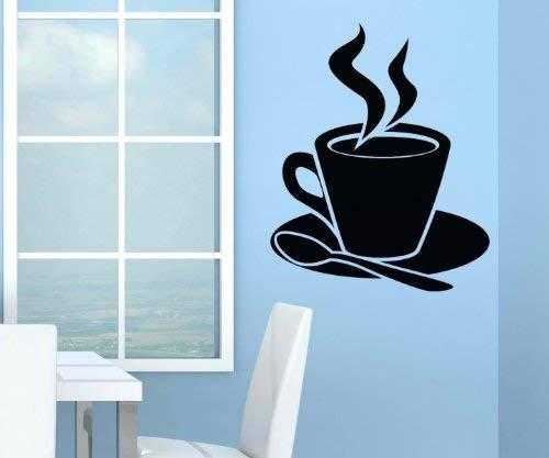 myDruck-Store Adesivo da Parete Tazza di caffè Cucchiaio da Cucina Adesivo Decorativo da Parete Decalcomania 5q659, Lavanda Lucido, 50cm