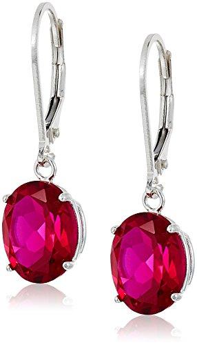 Sterling Silver Oval Created Ruby Dangle Earrings