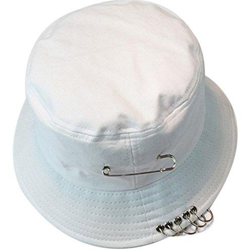 Belsen Damen Stift Reifen Sonnenhut Bucket Hat Fischerhüte Strand Hut Mütze (weiß)