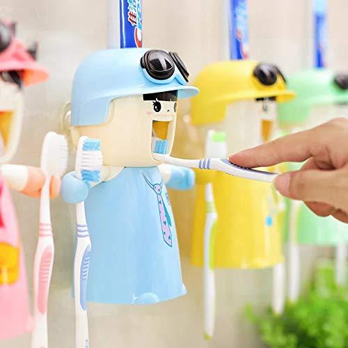 Kinderzahnbürstenhalter mit Tasse, Nette Hände geben Zahnpastaspender frei Kinder automatischer Karikatur-Zahnpasta-Squeezer-Kasten, Wand-Bad-Kit Leicht zu reinigen (Blau)