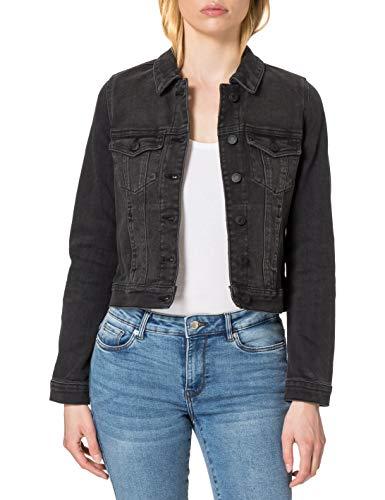 VERO MODA Damen VMFAITH LS Slim DNM Jacket Mix GA Color Jeansjacke, Black, S