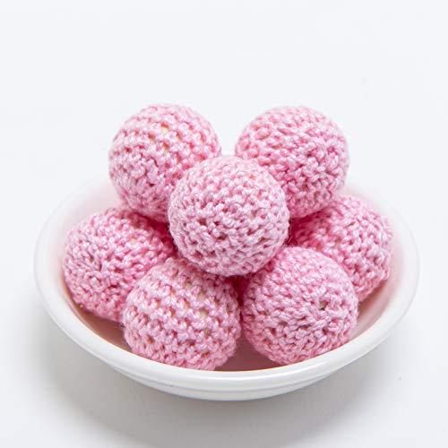 Best for baby Hölzern Perlen häkeln Süßigkeits Rosa 20mm 10PC Diy Korne Beißring aus Holz Baby Beißring Spielzeug Pflege Schmuck Zubehör