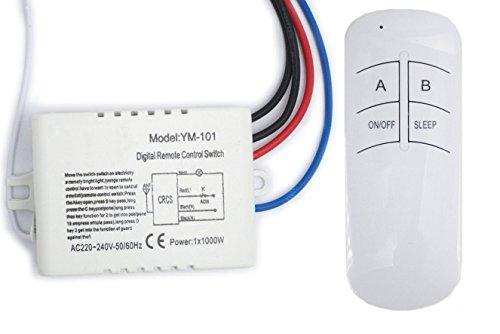 Namvo de Interruptor de Pared y Mando a Distancia unidireccional ON/Off 220V - 240V Interruptor de Pared Luz de Radio Digital con Control Remoto