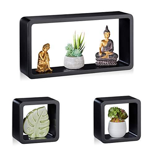 Relaxdays Cube Regal, 3er Set, Schwebend, Quadratisch, Modernes Design, Hoch- & Querformat, Kinderzimmer, MDF, Schwarz
