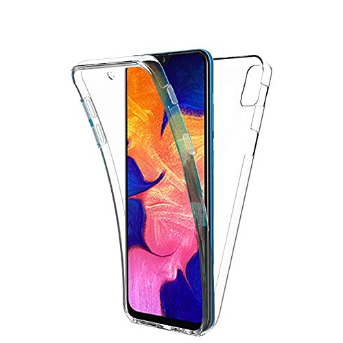 COPHONE - Funda para Samsung Galaxy A10 100%Transparente 360 Grados Protección Completa Delantera Suave de silicona+ Trasera rígida. Funda táctil 360 Grados antigolpes para Galaxy A10