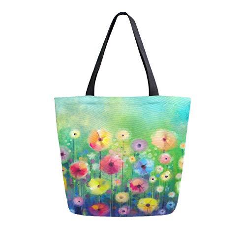 Bolol - Bolsa de lona para mujer, diseño floral, floral, bolsa de hombro, grande, reutilizable, multiusos, para viajes, al aire libre