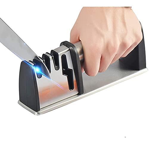 ANSIEDIO Afilador de Cuchillos Profesional, 4 Etapas Afilador de Cuchillos de Cocina, Afiladores Manuales Knife Sharpener para Afilar Cuchillos, Tijeras, Navajas