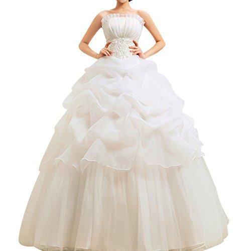 A-Linie Bodenlang Kleid Trägerlos Hochzeitskleid Mit Schnuerung Beige M