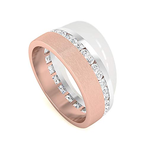 Anillo de boda con certificado IDCL de 0,60 ct, con certificado de Moissanite, antiguo GH-VS1 Moissanite Anillos de promesa para ella, Tono de remolque para mujer, 14K Oro rosa, Size:EU 56