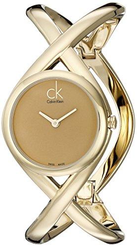 Calvin Klein K2L24509 - Reloj analógico de mujer de cuarzo con correa de acero inoxidable dorada