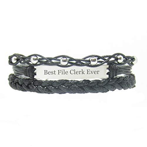 Miiras Handmade Friendship Bracelet for Women - Best File Clerk Ever Engraved Bracelet Set - Made of Embroidery Floss and Stainless Steel - Black 1 - Gift for File Clerk
