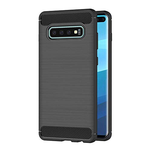 Hoesje voor Samsung Galaxy S10 Plus (6,4 inch Scherm) Geborsteld Koolstofvezel TPU Schokbestendige Antislip Zachte Beschermende Case (Zwart)