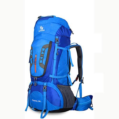 ZAJY 80L Extra Large Trekkingrucksäcke, Durable Alu-Halterung Outdoor Daypack Wasserdicht Und Reißfest Wanderrucksäcke Geeignet Zum Klettern Campingzelt Wanderreise,Blue