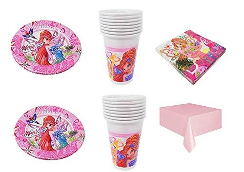 Party Store web by casa dolce casa Winx Club - Kit n° 5 CDC-40 Assiettes, 40 Verres, 40 Serviettes, 1 Nappe