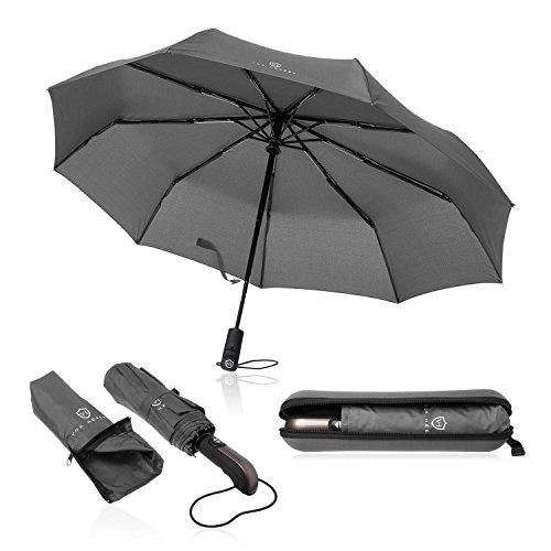 VON HEESEN Regenschirm sturmfest bis 140 km/h - inkl. Schirm-Tasche & Reise-Etui - Taschenschirm mit Auf-Zu-Automatik, klein, leicht & kompakt, Teflon-Beschichtung, windsicher, stabil (Grau)