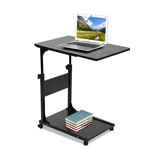 Moveable Bedside Over Bed Table Computer Laptop Stand, Computer Work Desk Sofa Side Bed Side table on Wheels, C Shape Height Adjustable Over Side Bed Table for Work Study Breakfast Lunch Dinner(Black)