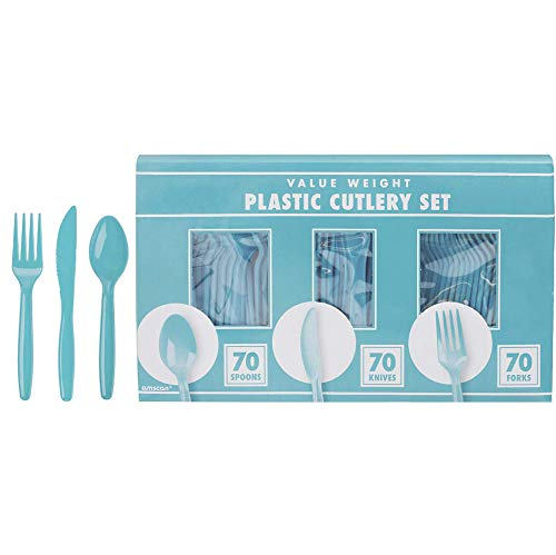 """Amscan Premium Value Box Cutlery Set stained-glass-window-panels, 6"""" x 11"""", Carribean Blue"""